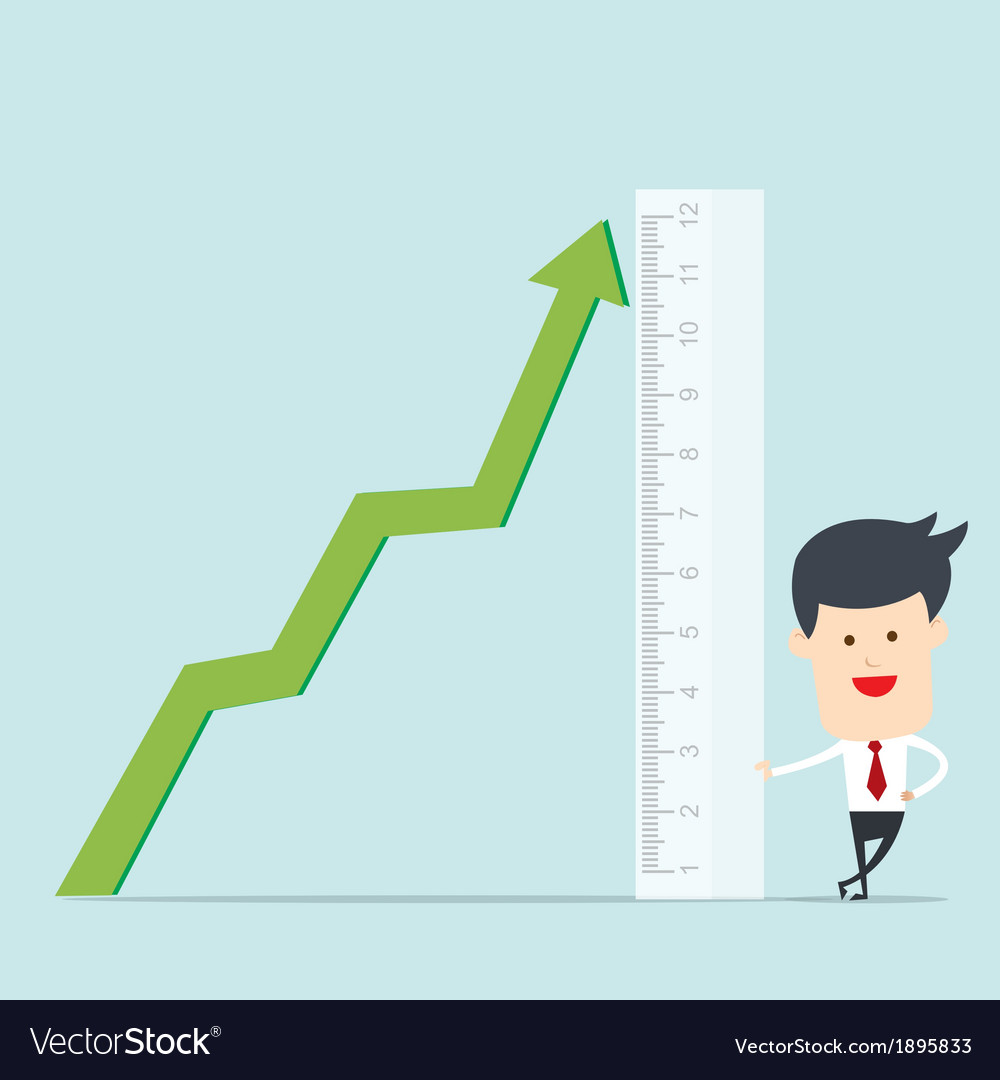 Business man use ruler measure graph vector | Price: 1 Credit (USD $1)