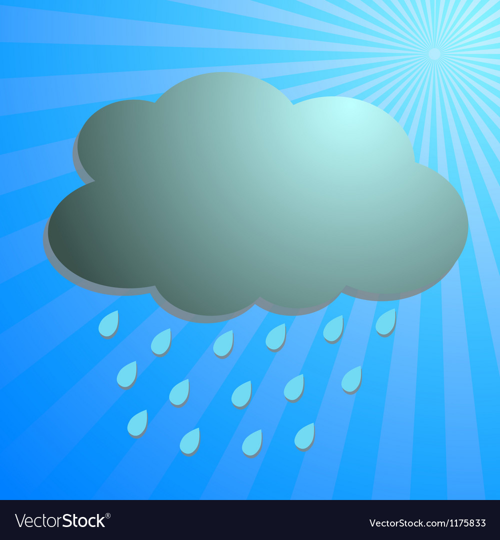 Cloud and rain drop with blue rays vector | Price: 1 Credit (USD $1)