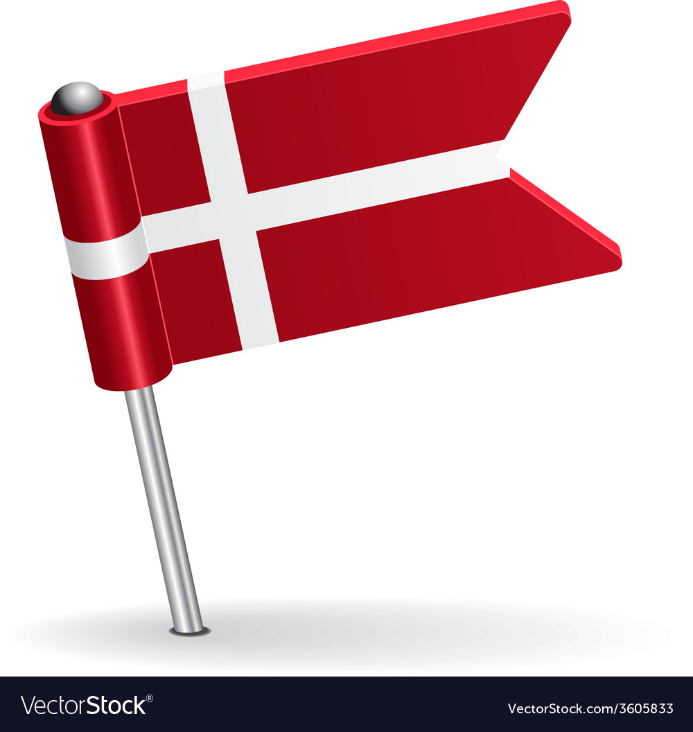 Danish pin icon flag vector | Price: 1 Credit (USD $1)