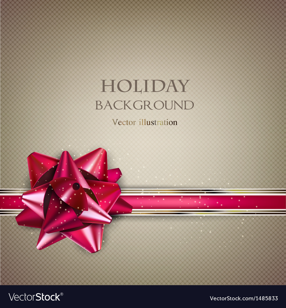 Elegant holiday background with red bow and place vector   Price: 1 Credit (USD $1)