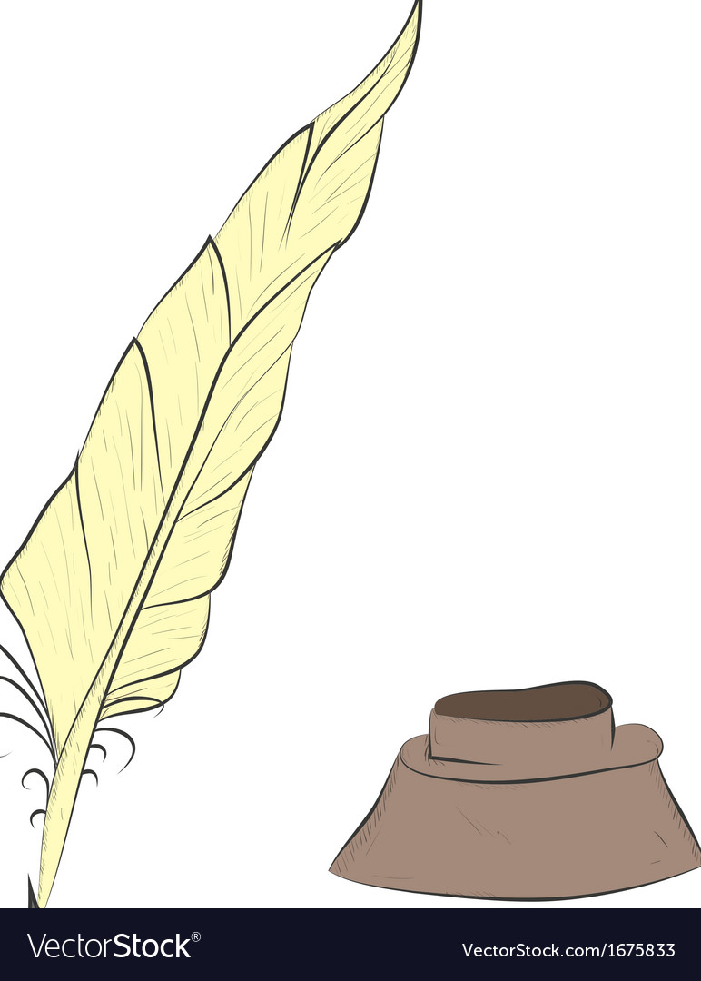 Feather and inkwell vector | Price: 1 Credit (USD $1)