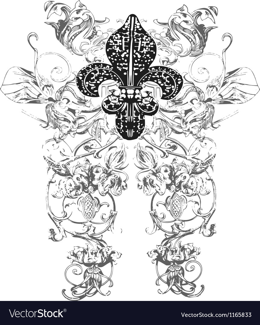 Fleur de lys emblem vector | Price: 1 Credit (USD $1)