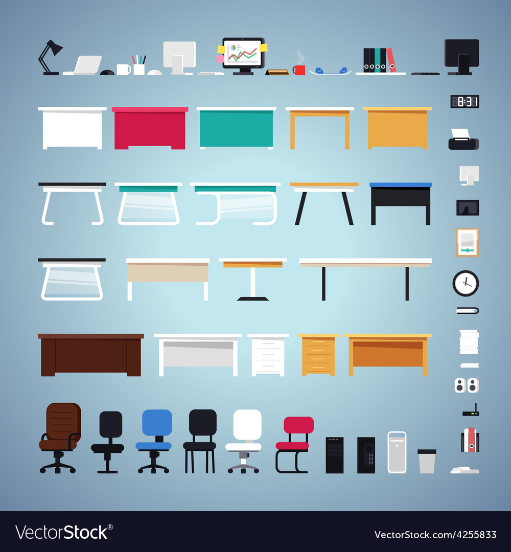 Office furniture set vector | Price: 1 Credit (USD $1)