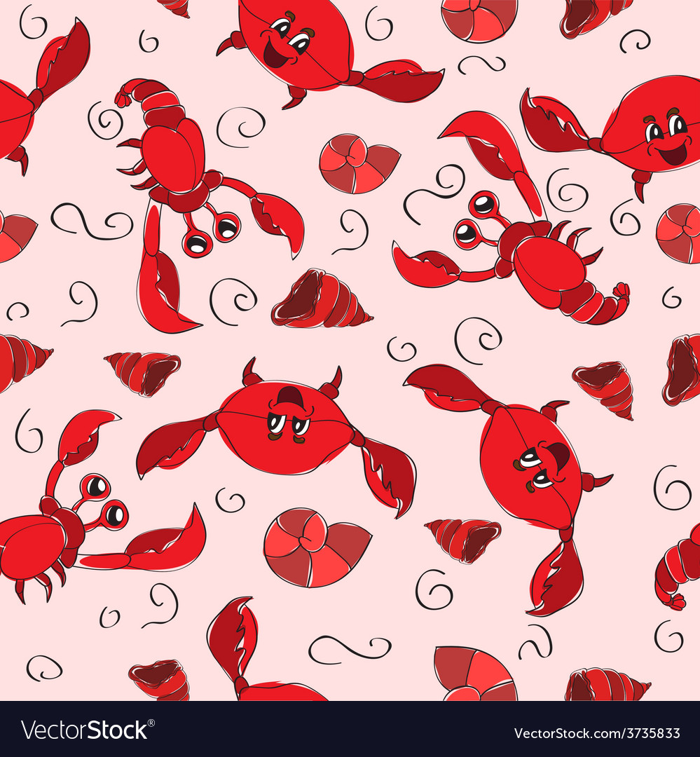 Seamless background with crab and crayfish vector | Price: 1 Credit (USD $1)