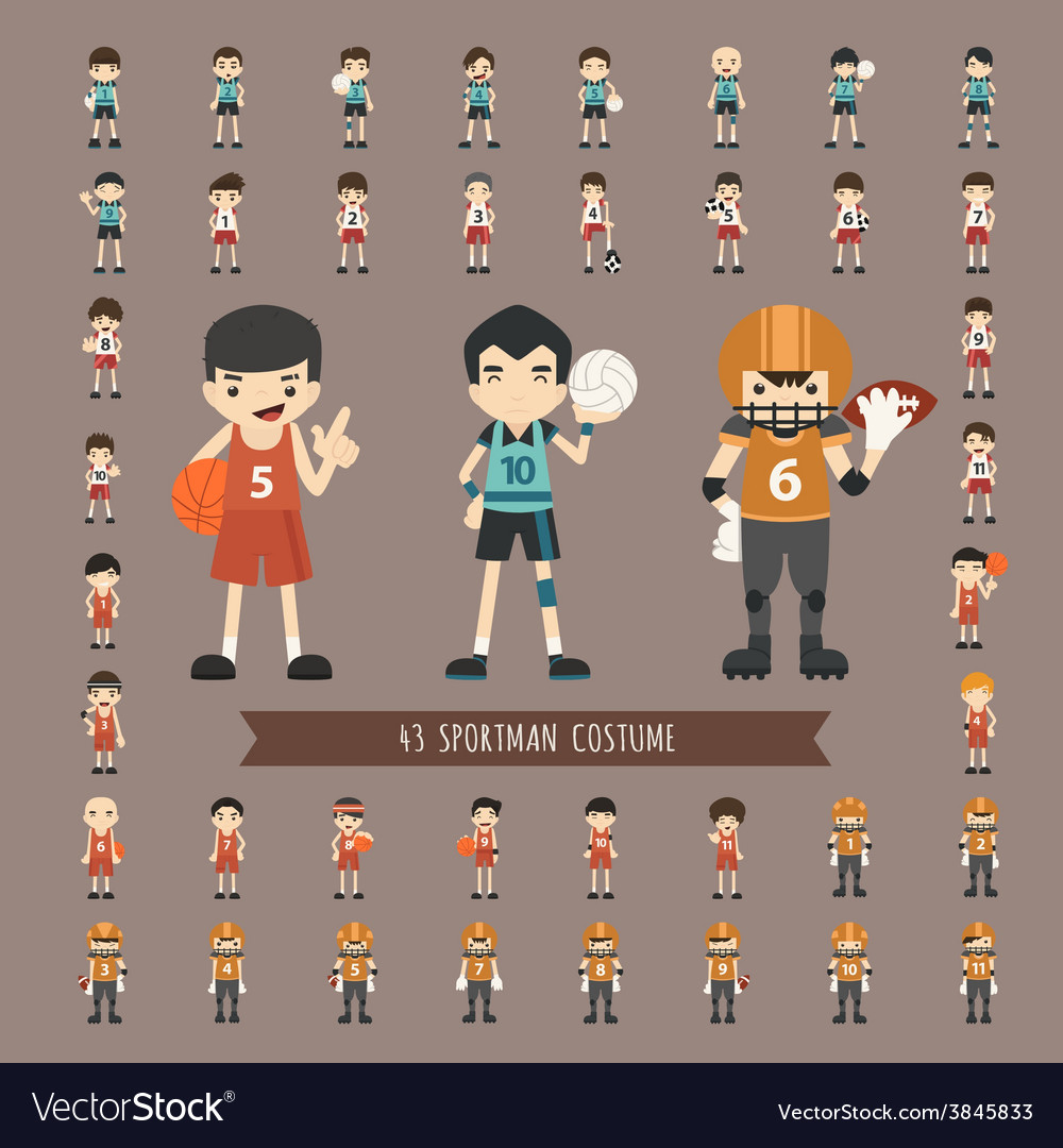 Set of 43 sportman costume characters vector | Price: 1 Credit (USD $1)