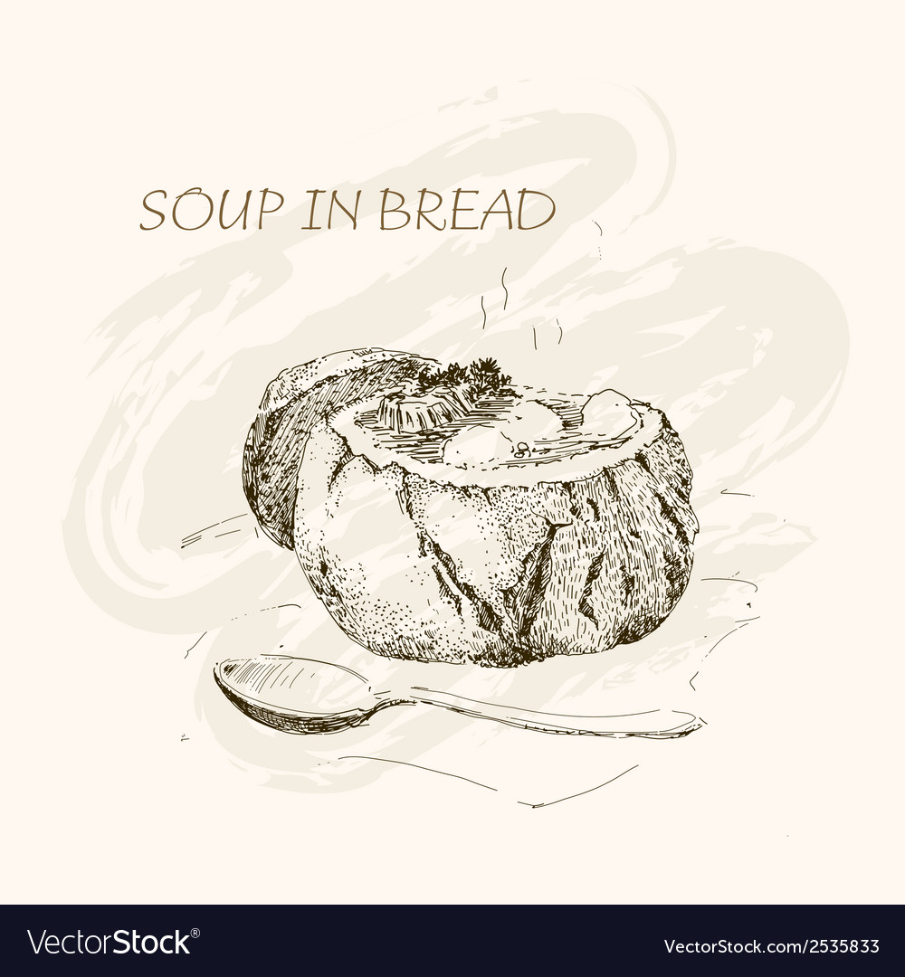 Soup in bread vector | Price: 1 Credit (USD $1)