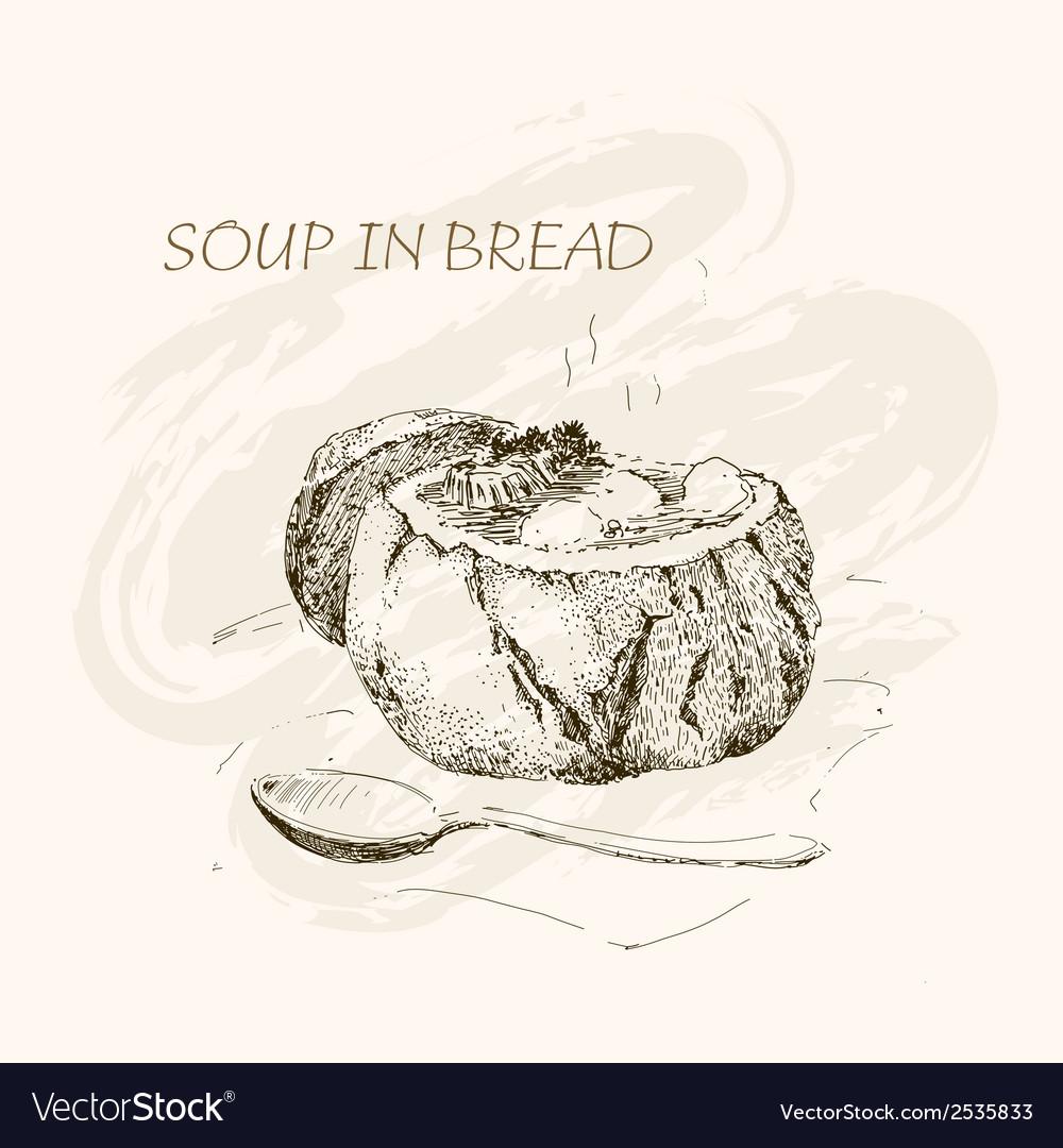 Soup in bread vector | Price: 1 Credit (USD $1)