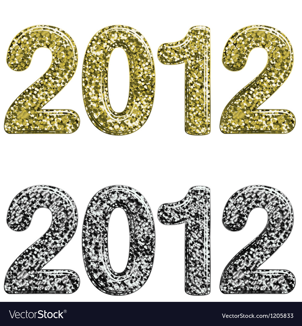 Two 2012 year made with glossy glitter vector | Price: 1 Credit (USD $1)