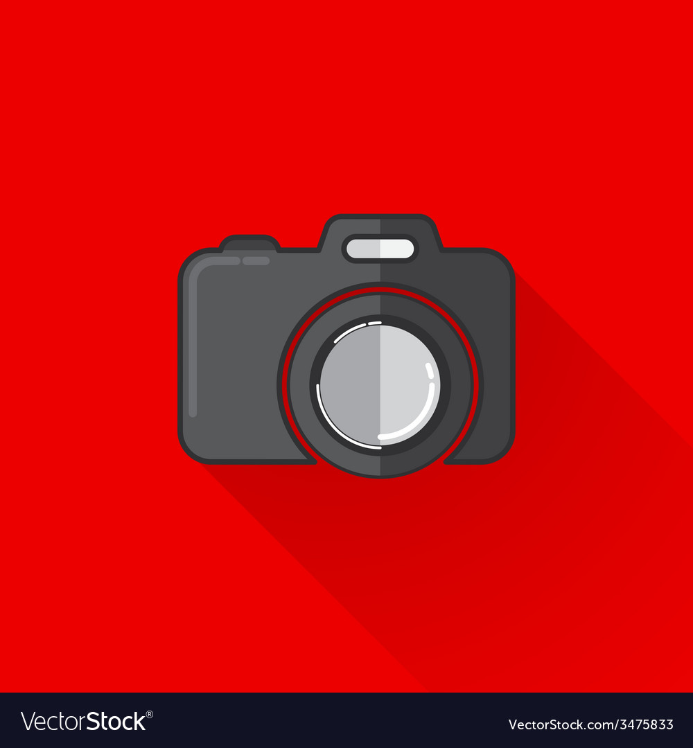 Vintage of a camera in flat style with long shadow vector | Price: 1 Credit (USD $1)