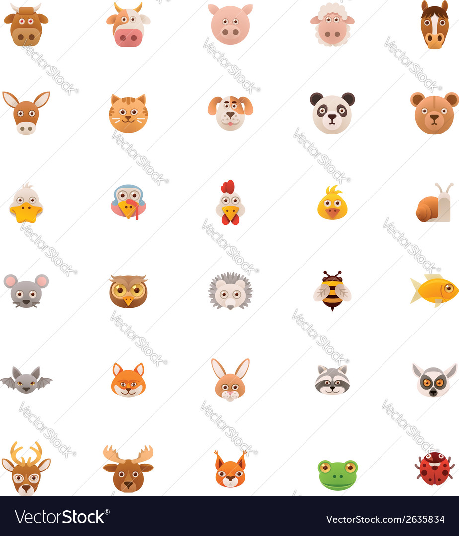 Animals icon set part one vector | Price: 1 Credit (USD $1)