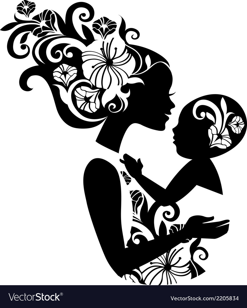 Beautiful mother silhouette with baby in a sling vector | Price: 1 Credit (USD $1)