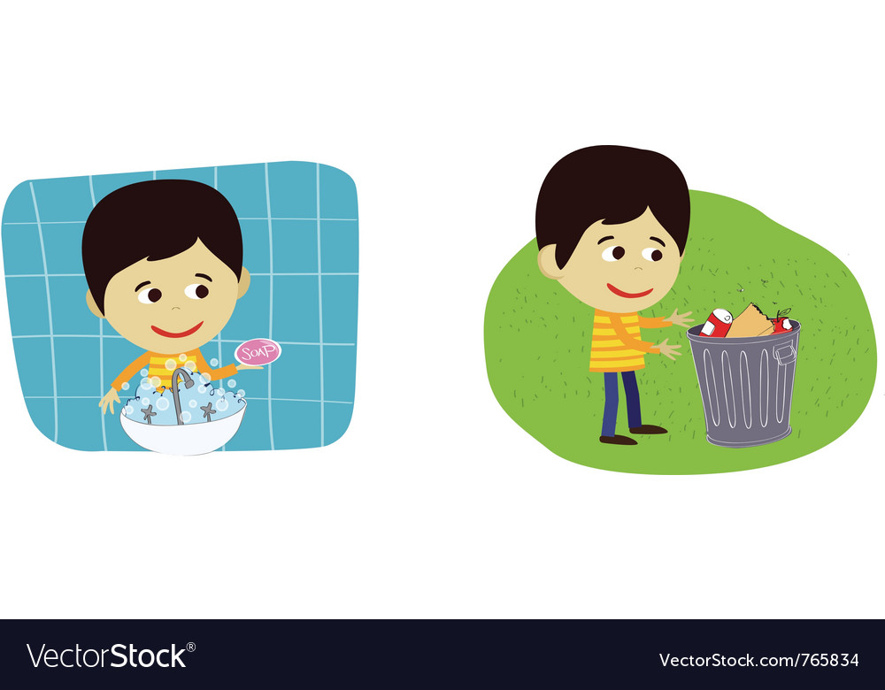 Boy disposing rubbish or garbage vector | Price: 1 Credit (USD $1)