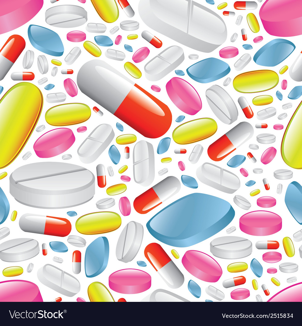 Pills and capsules seamless pattern vector | Price: 1 Credit (USD $1)