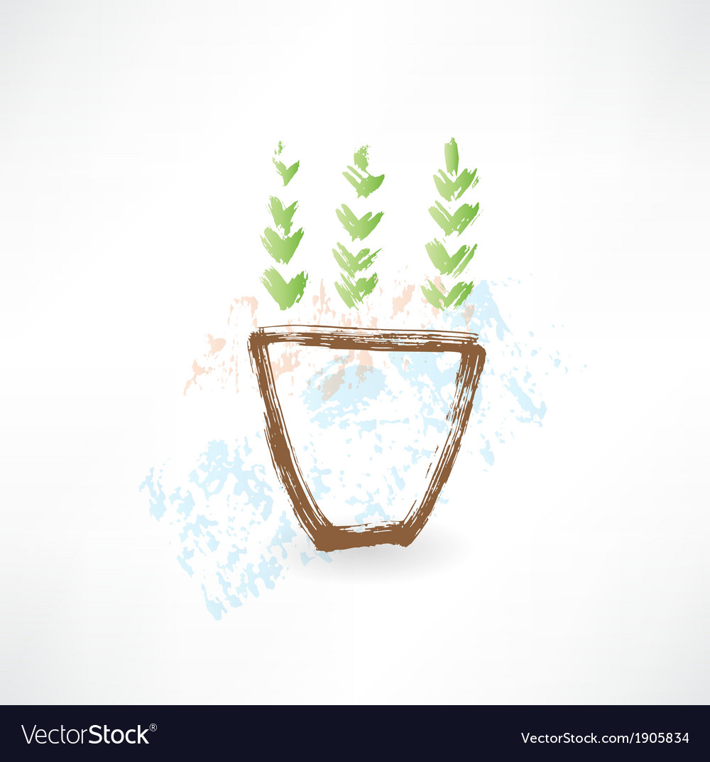 Potted plant grunge icon vector | Price: 1 Credit (USD $1)