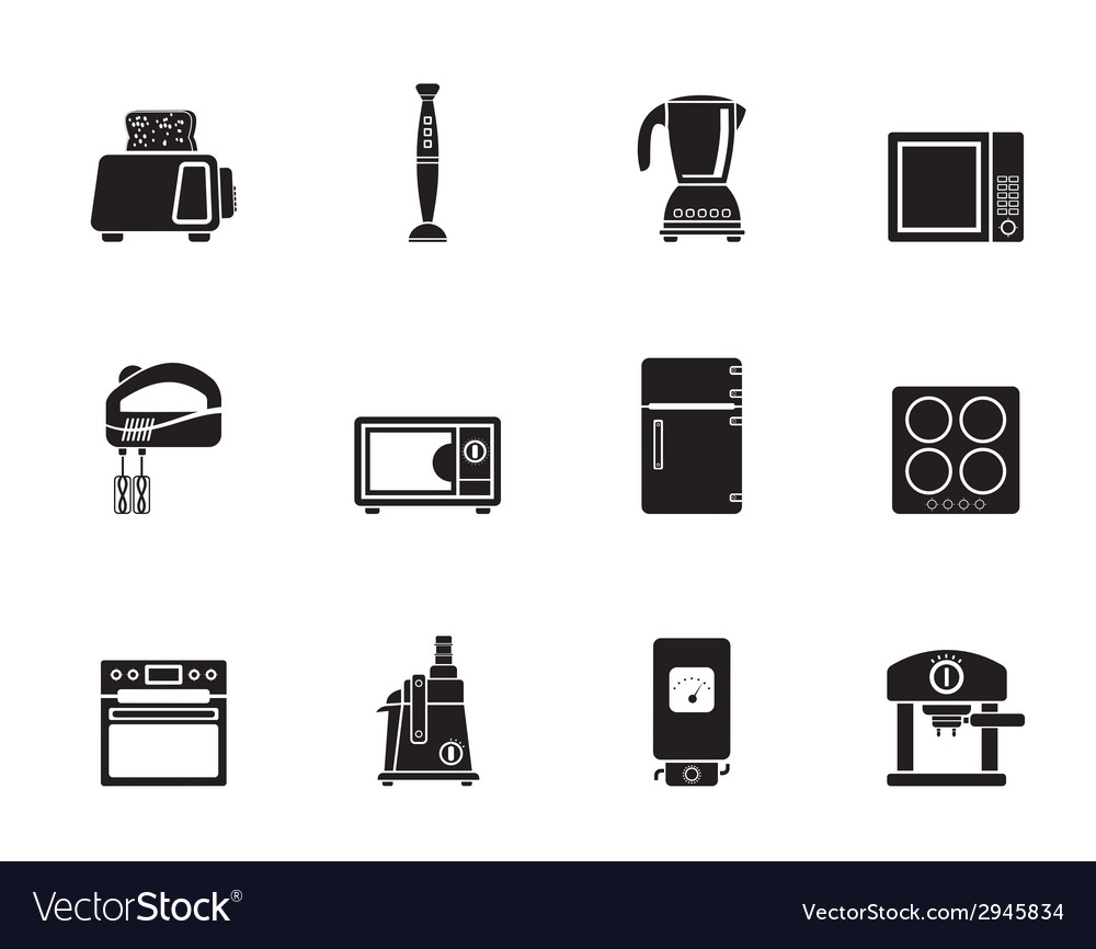 Silhouette kitchen and home equipment icons vector | Price: 1 Credit (USD $1)