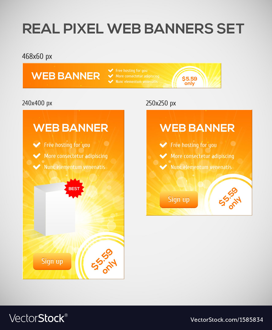 Standard size web banners set vector | Price: 1 Credit (USD $1)