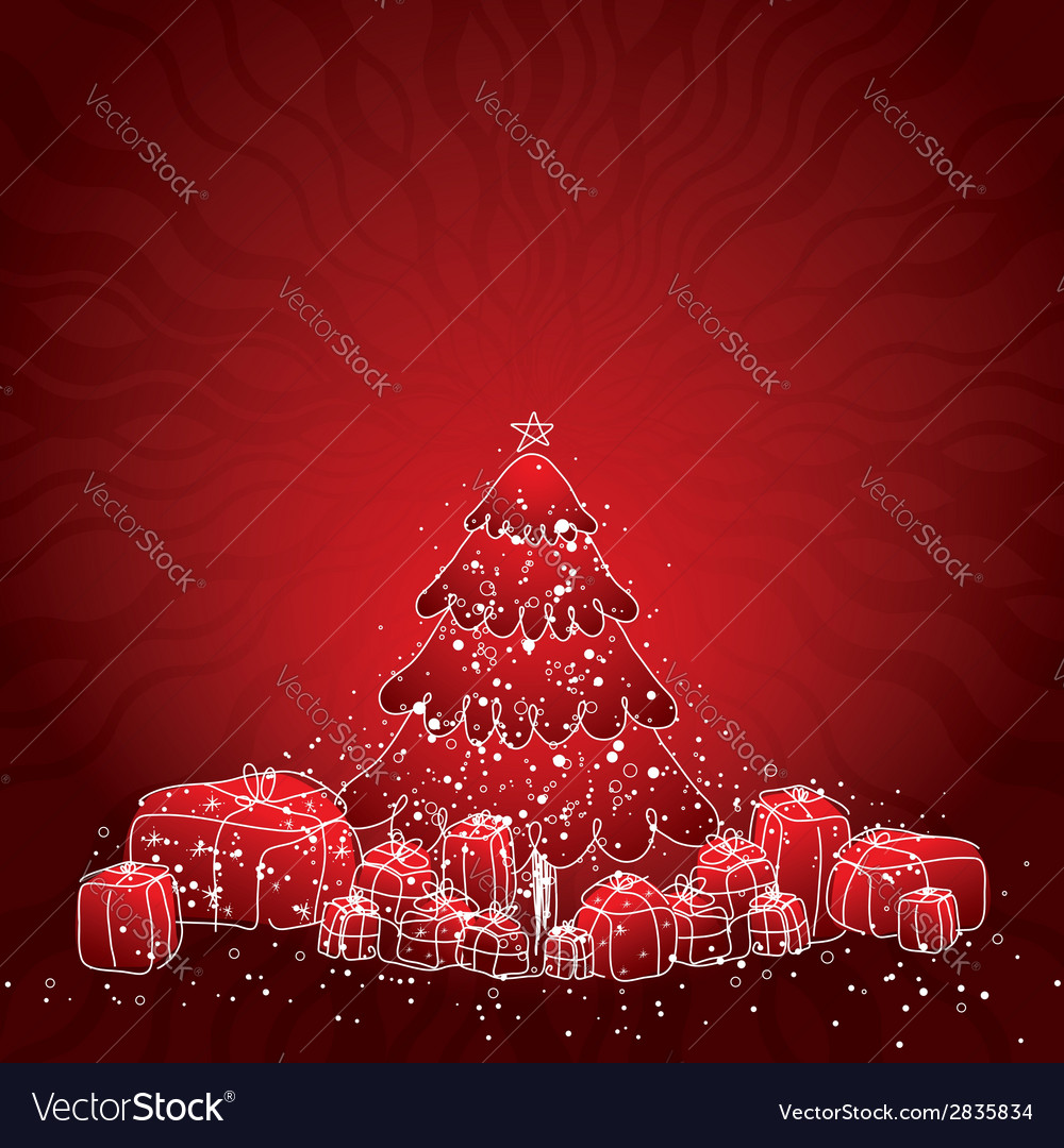 With christmas tree and many gifts vector | Price: 1 Credit (USD $1)