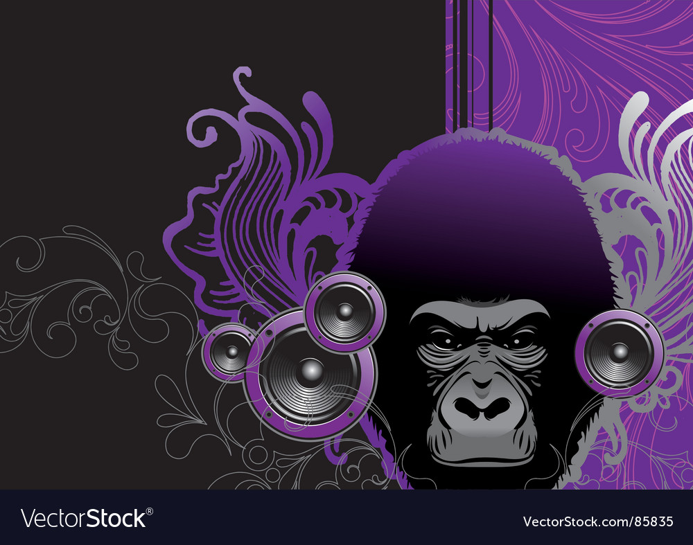 Audio gorilla vector | Price: 1 Credit (USD $1)