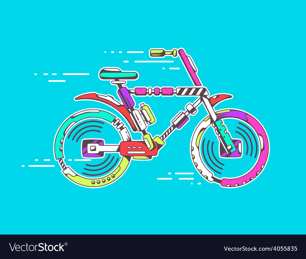 Bicycle moving fast on bright blue backgr vector | Price: 1 Credit (USD $1)