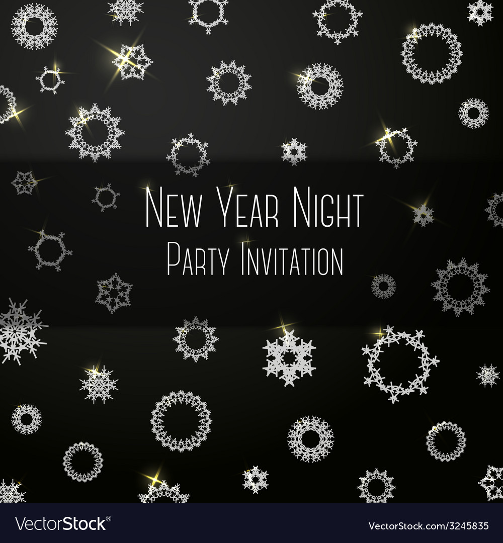 Black classic colored invitation on new year party vector | Price: 1 Credit (USD $1)