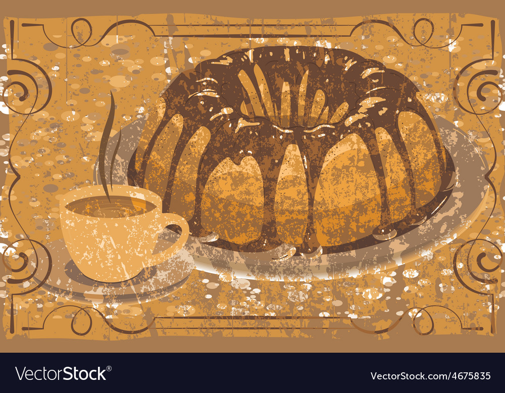 Cake with glaze and a cup of hot drink grunge vector   Price: 1 Credit (USD $1)