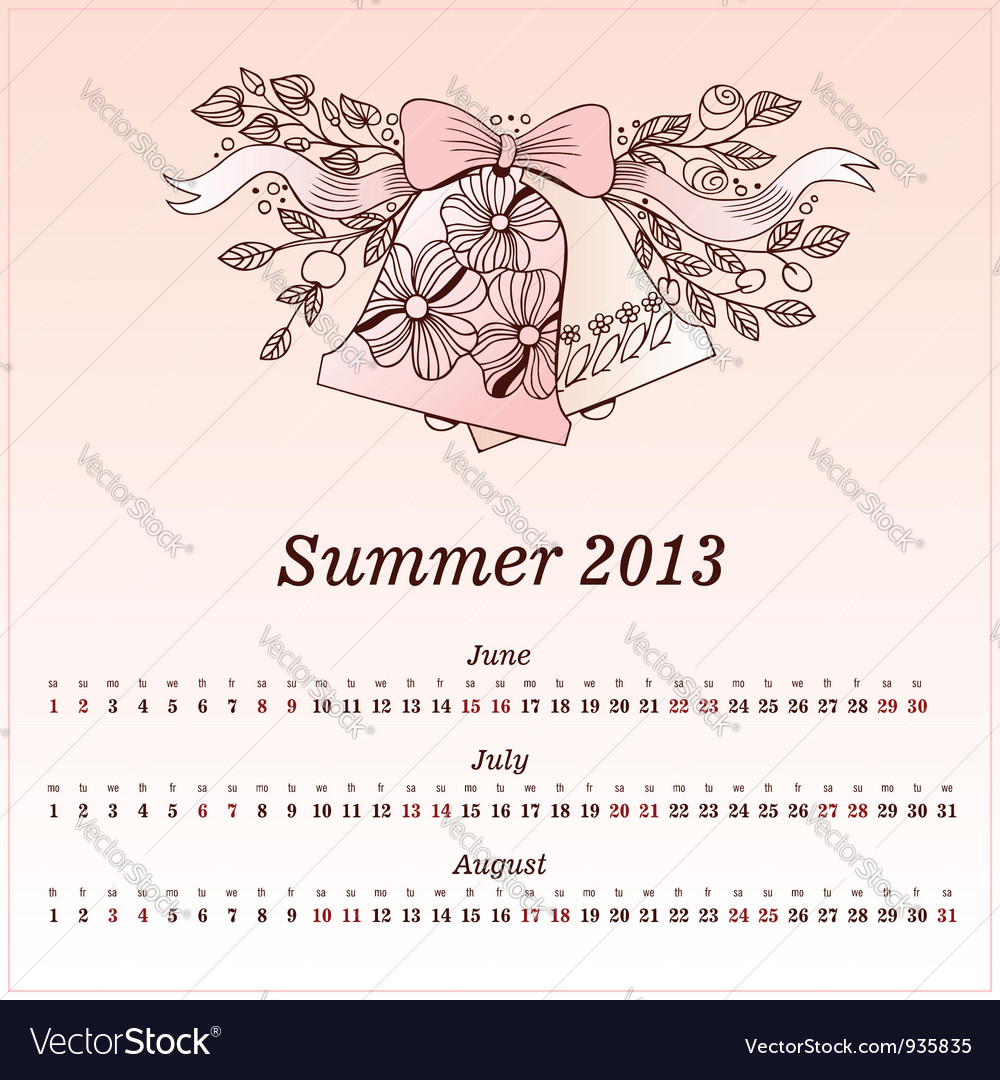 Calendar 2013 summer vector | Price: 1 Credit (USD $1)