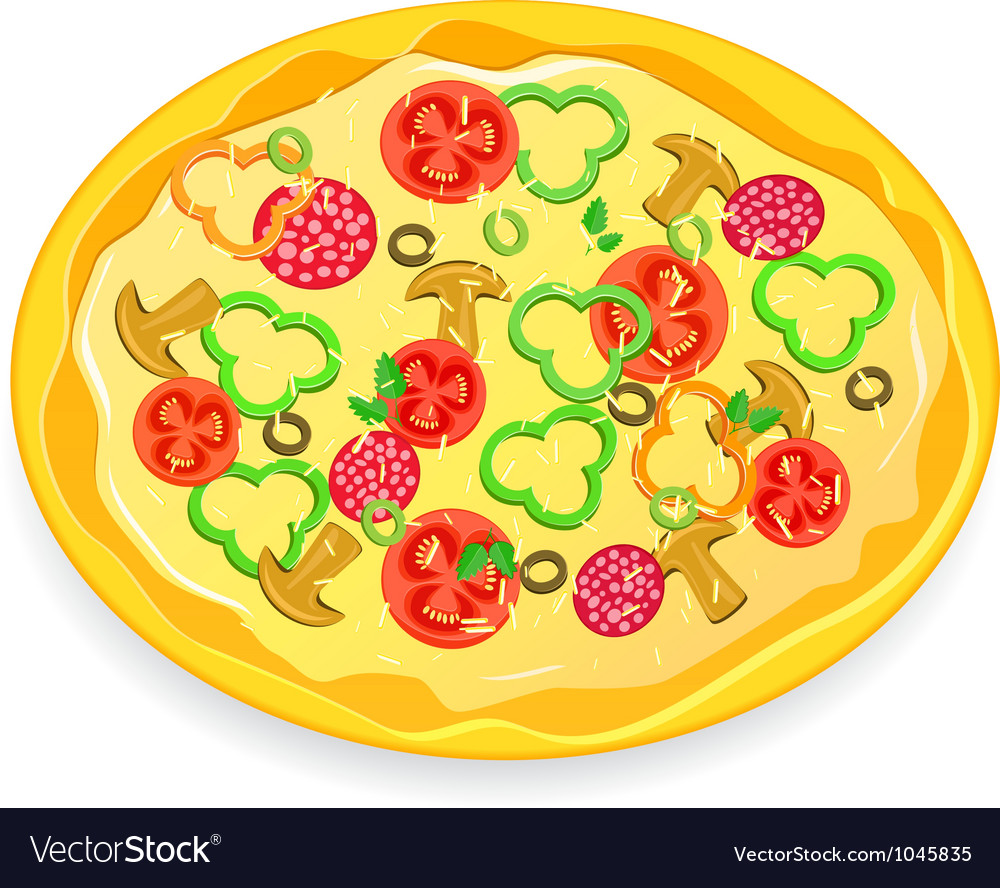 Fresh pizza icon with vegetables and pepperoni vector | Price: 1 Credit (USD $1)