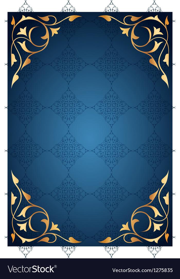 Golden pattern frames on blue background vector   Price: 1 Credit (USD $1)