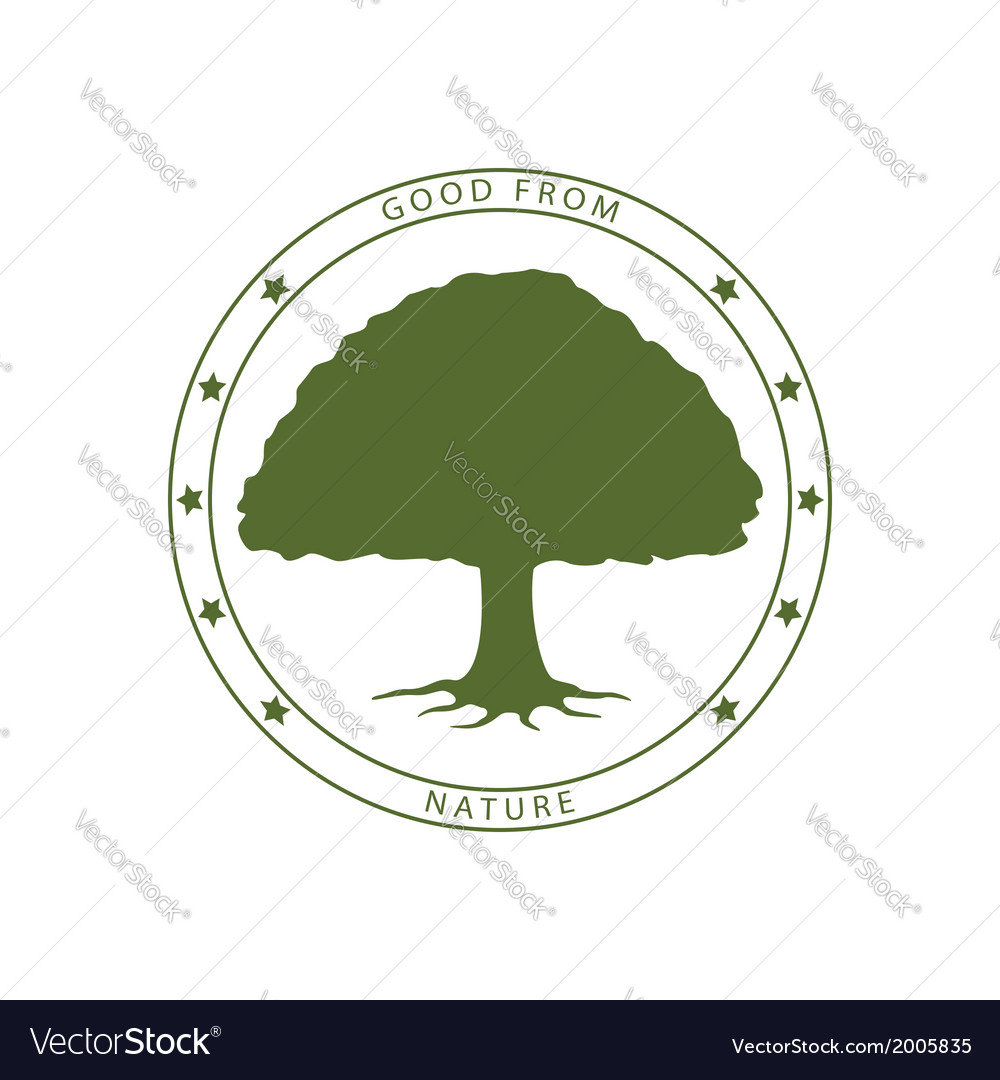 Green tree stamp vector | Price: 1 Credit (USD $1)