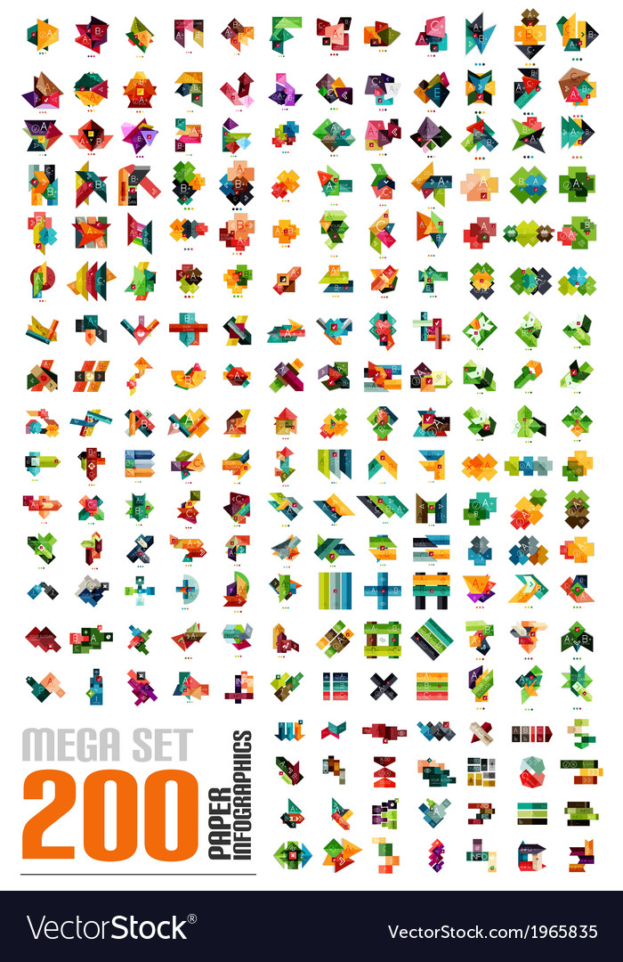 Mega set - infographic templates made of paper vector | Price: 1 Credit (USD $1)