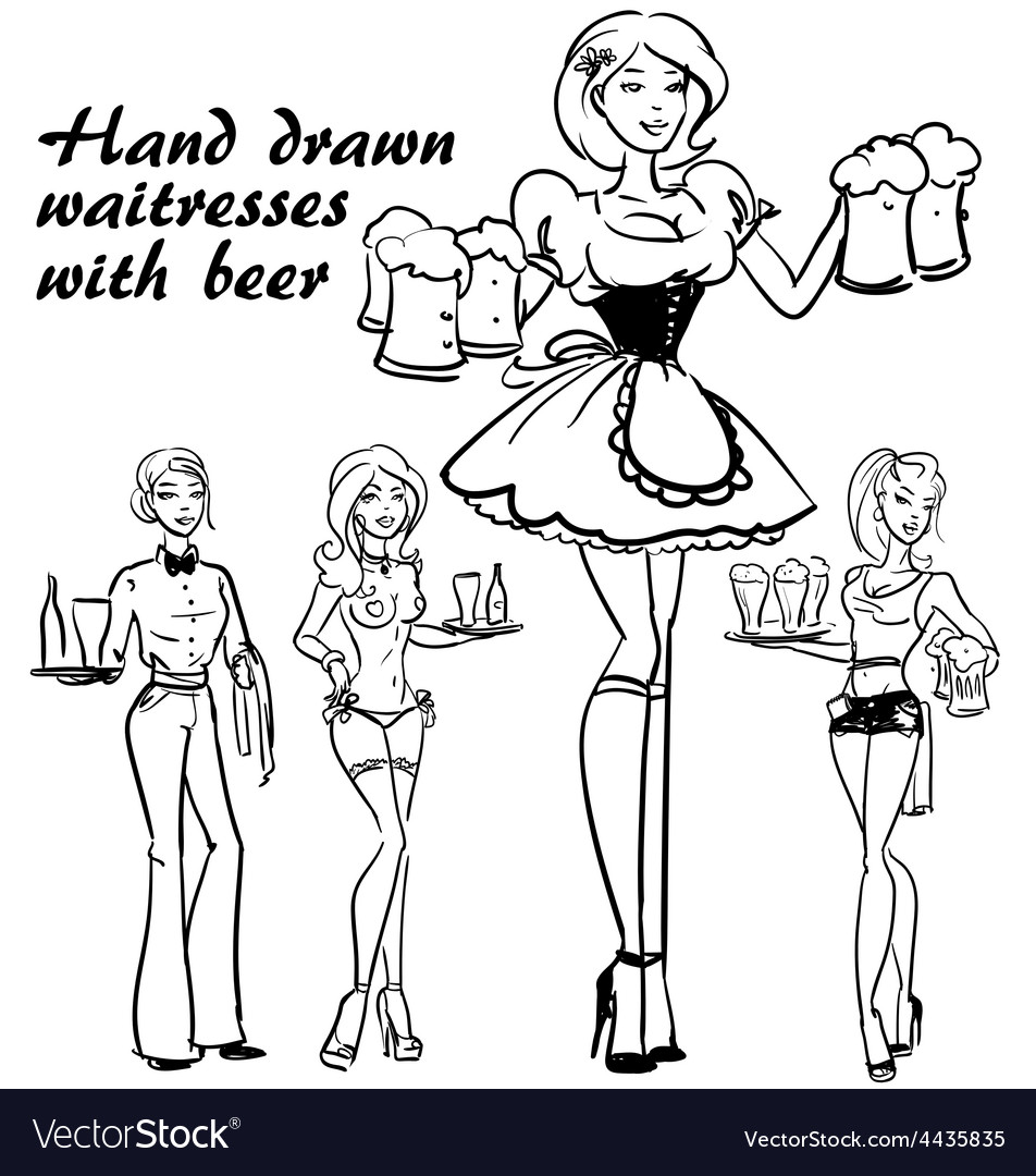 Pretty pin up girls with beer mugs vector | Price: 1 Credit (USD $1)