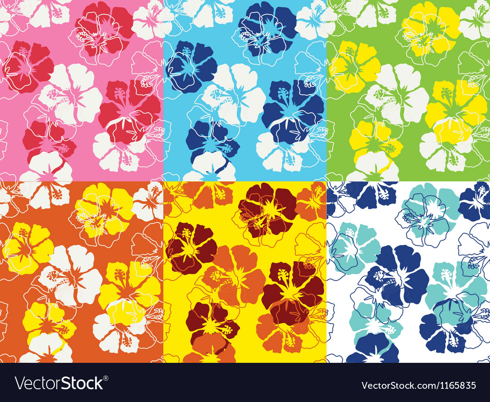 Seamless hibiscus flower pattern vector | Price: 1 Credit (USD $1)