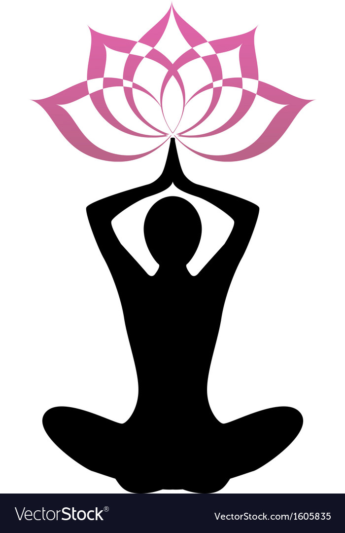 Silhouette yoga and lotus vector | Price: 1 Credit (USD $1)