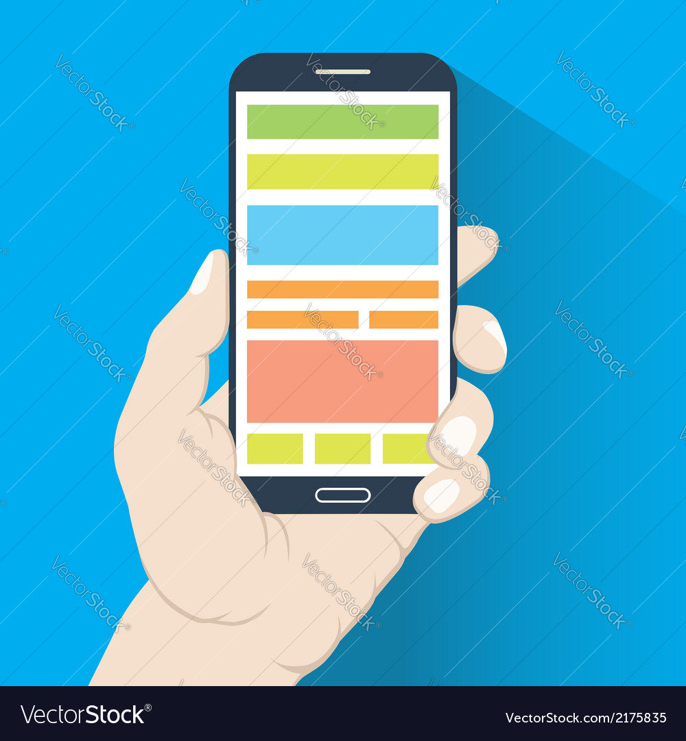 Smartphone in hand flat design vector | Price: 1 Credit (USD $1)