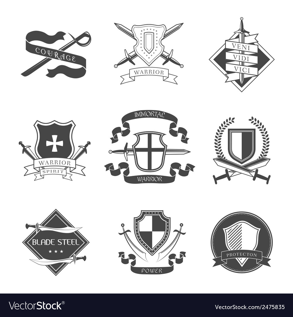 Sword and shield label vector | Price: 1 Credit (USD $1)