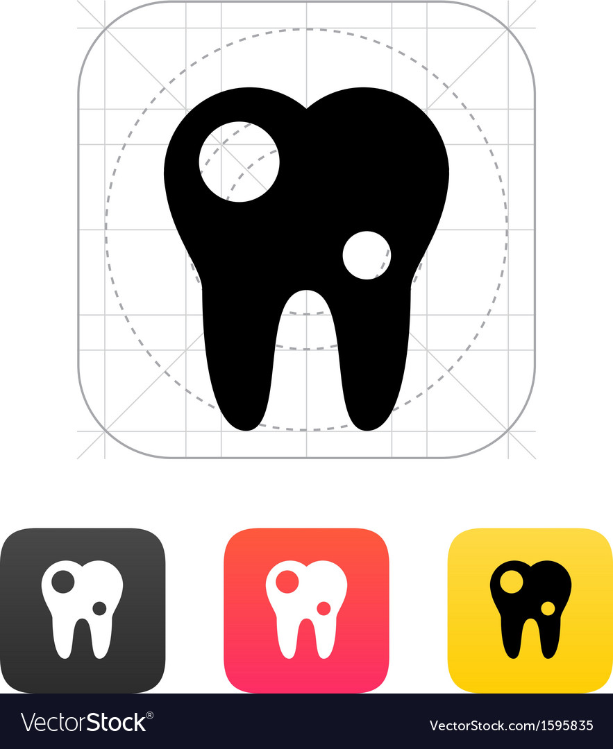 Tooth with caries icon vector | Price: 1 Credit (USD $1)