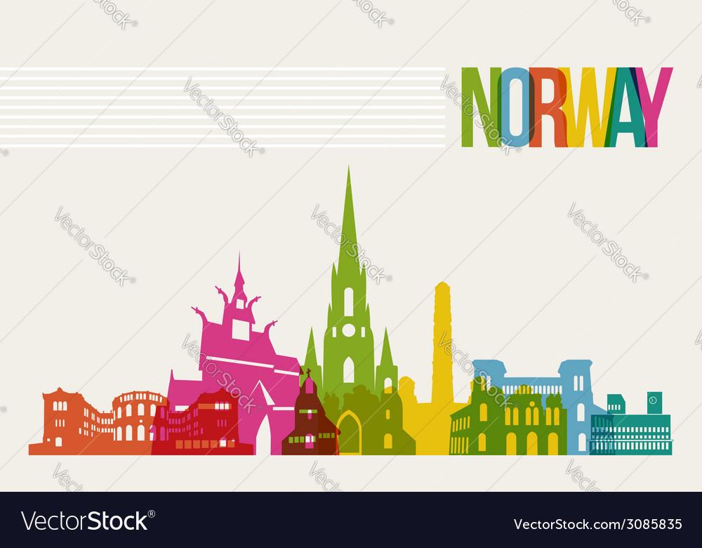Travel norway destination landmarks skyline vector | Price: 1 Credit (USD $1)