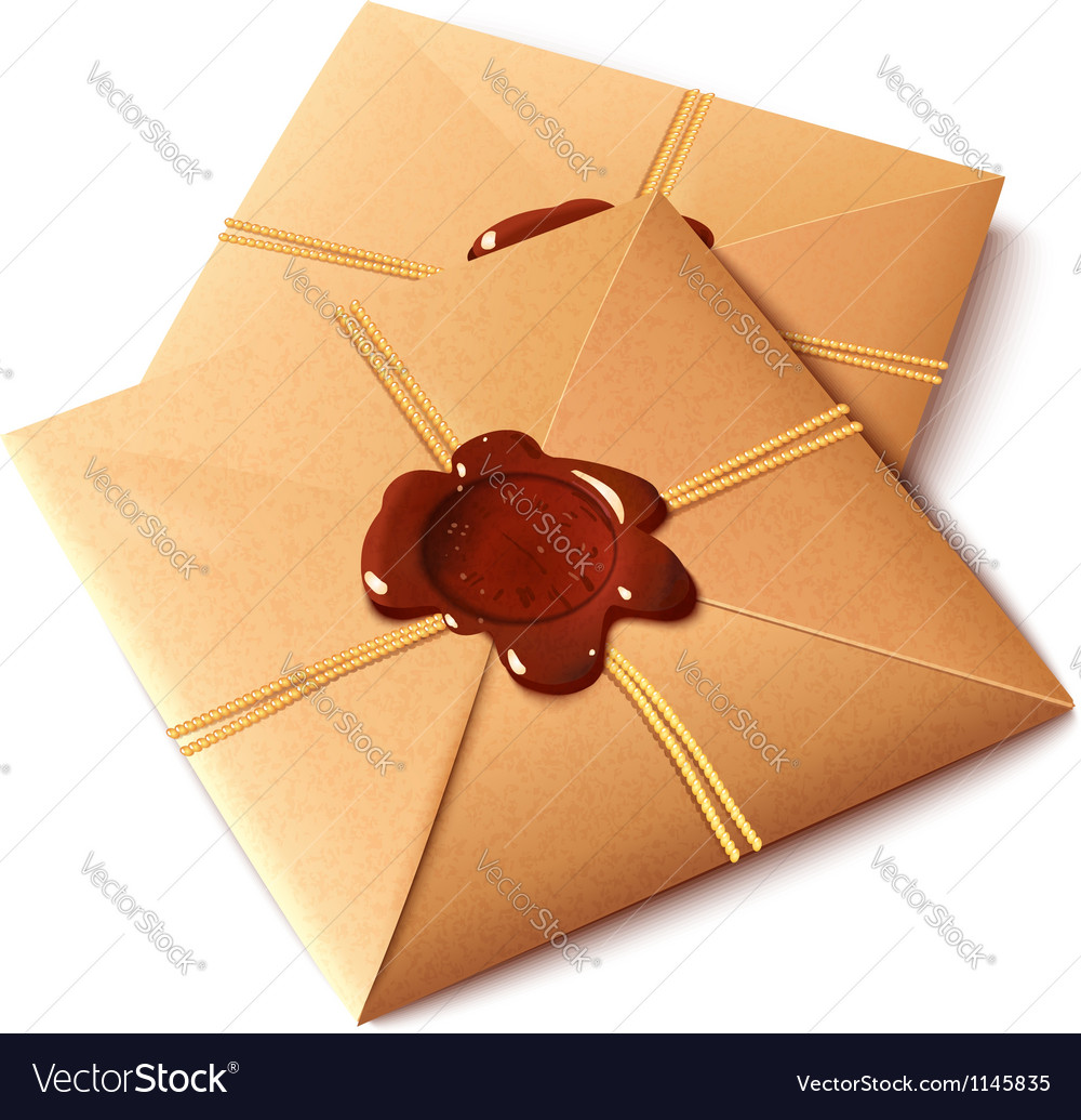 Vintage paper envelope with wax stamp vector | Price: 1 Credit (USD $1)