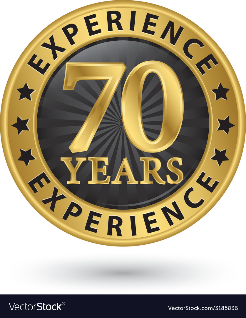 70 years experience gold label vector | Price: 1 Credit (USD $1)