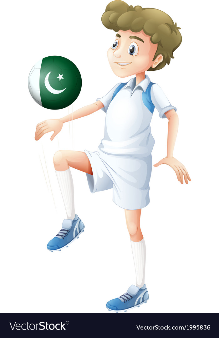 A player using the ball with the pakistan flag vector | Price: 1 Credit (USD $1)