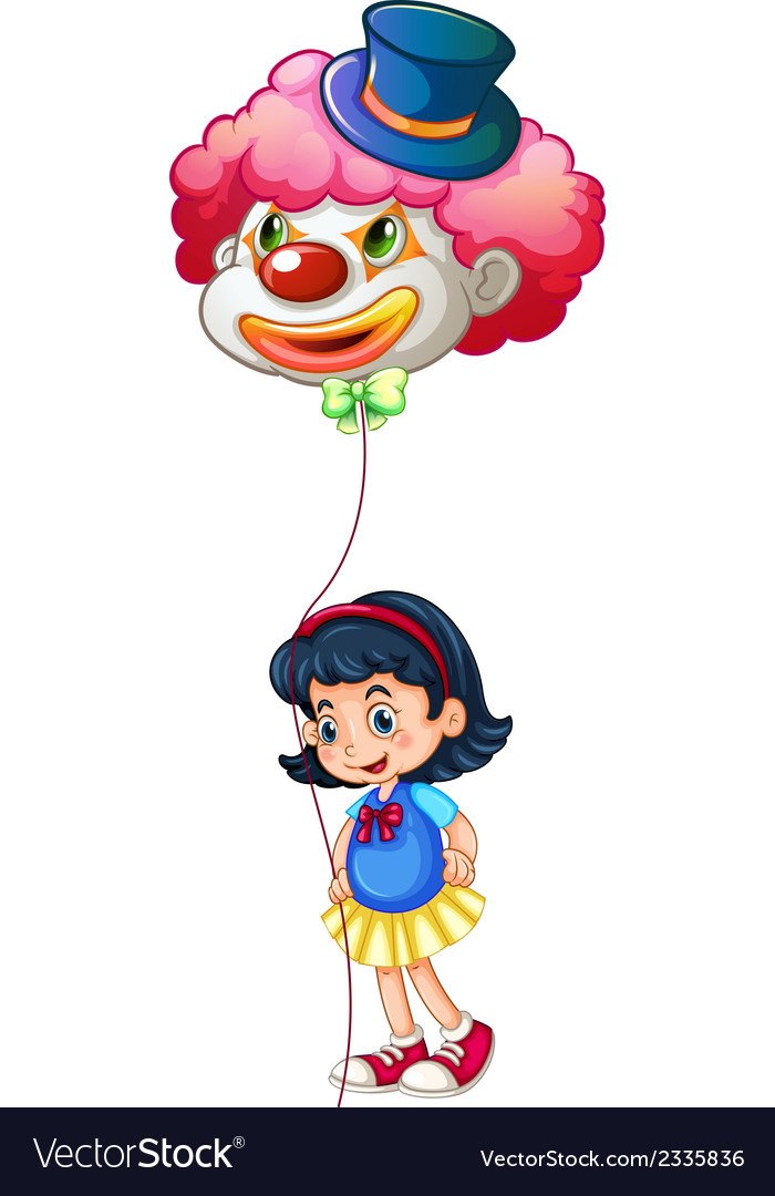 A schoolgirl holding a clown balloon vector | Price: 1 Credit (USD $1)