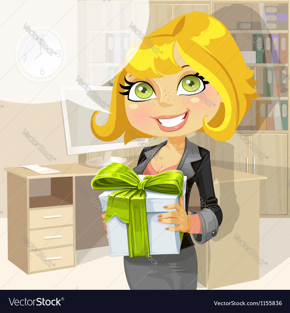 Business lady in office gives a gift from company vector | Price: 1 Credit (USD $1)