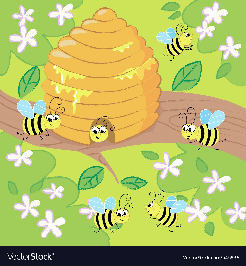 Cartoon beehive vector | Price: 1 Credit (USD $1)