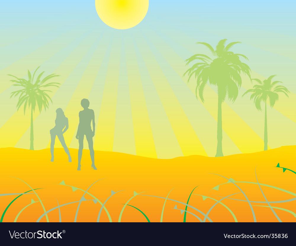 Desert scene vector | Price: 1 Credit (USD $1)