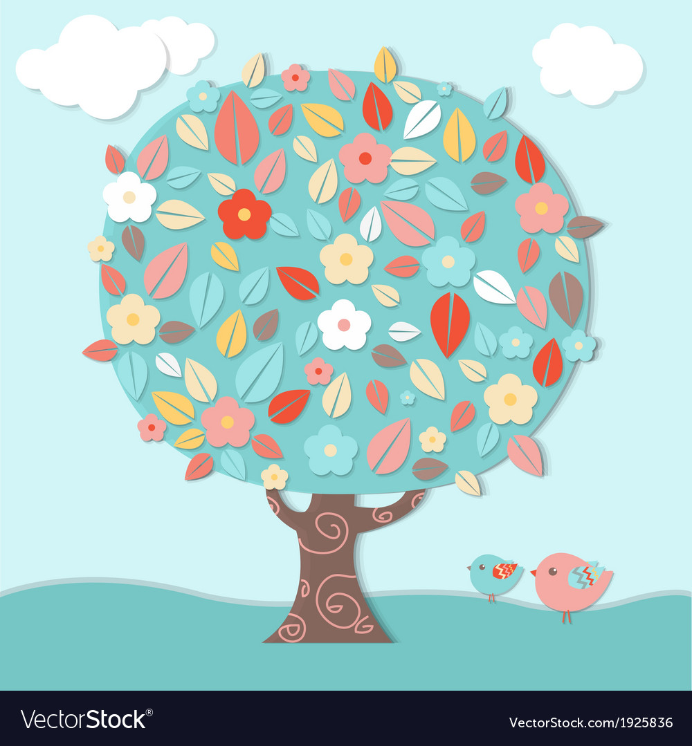 Fantastic tree and birds vector | Price: 1 Credit (USD $1)
