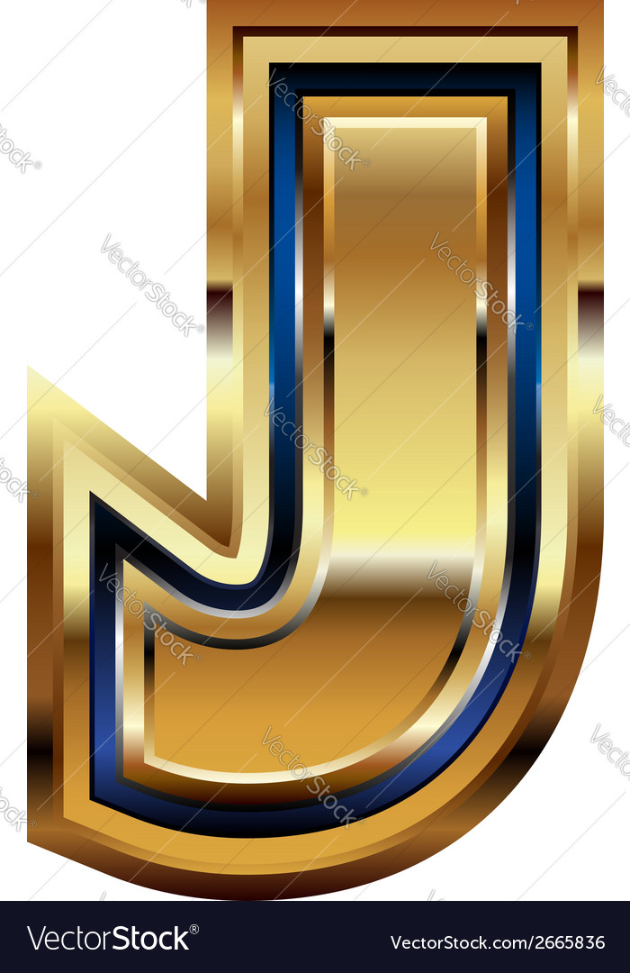 Golden font letter j vector | Price: 1 Credit (USD $1)