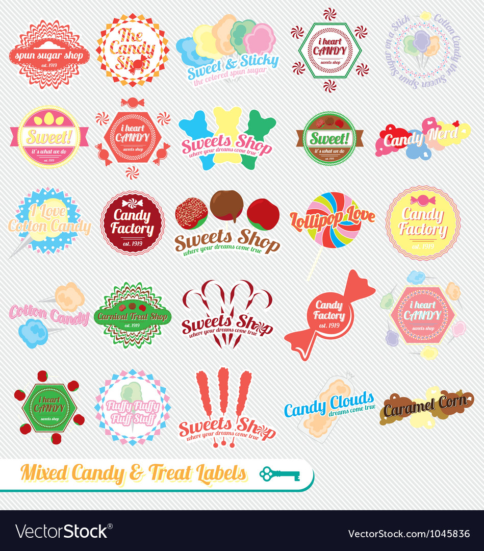 Mixed candy labels and icons vector | Price: 1 Credit (USD $1)