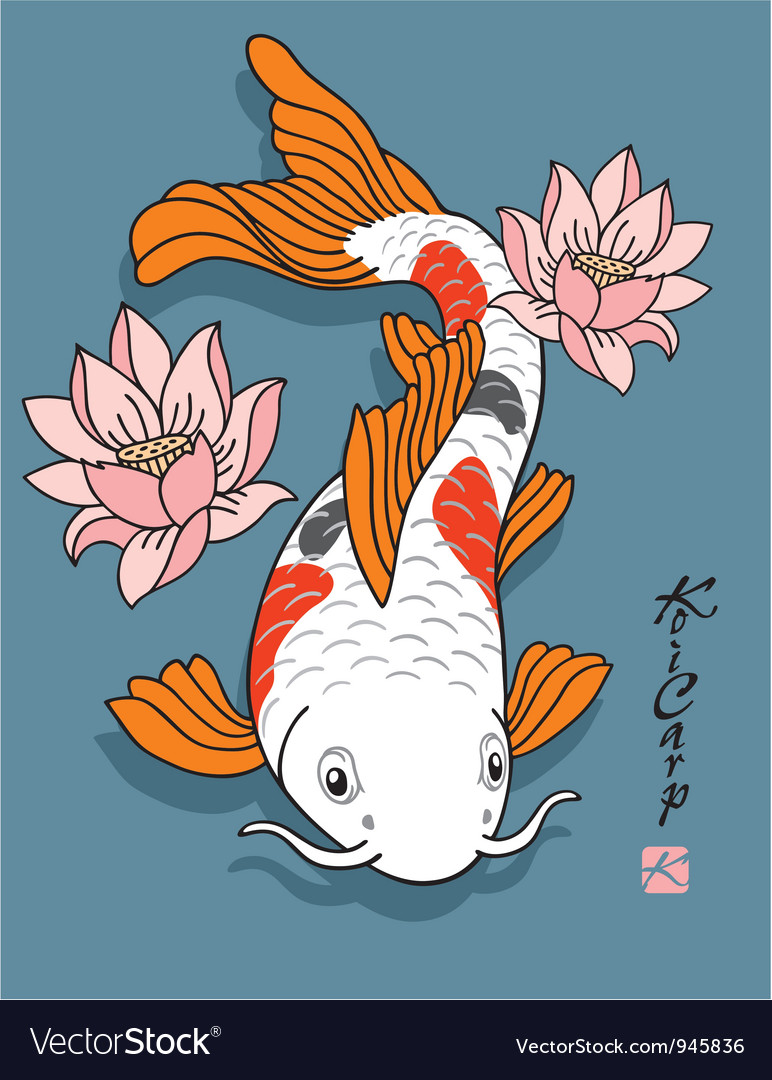 Oriental fish  koi carp vector