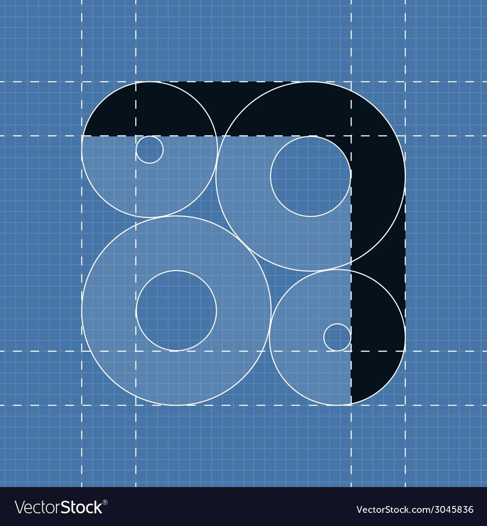 Round engineering font symbol 7 vector | Price: 1 Credit (USD $1)