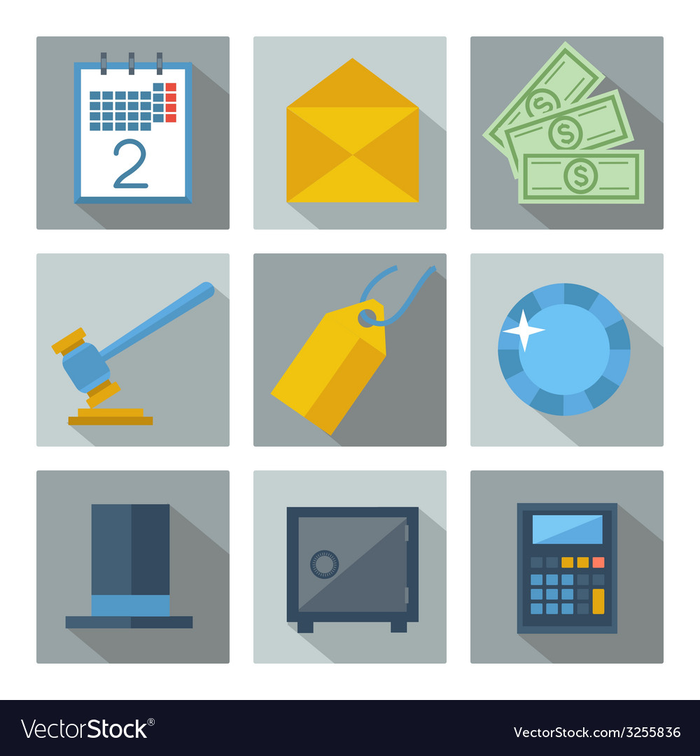 Set of 9 financial investment square icons vector | Price: 1 Credit (USD $1)